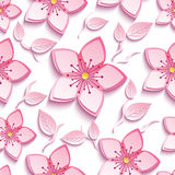 Seamless pattern with pink sakura and leaves Stock Photography