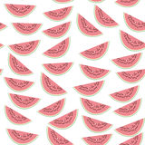Seamless pattern with pink slices of watermelon with seeds on white background. Vector Royalty Free Stock Photos