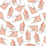 Seamless Pattern with pink sneakers. Sport background. Vector background stock illustration