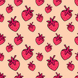 Seamless pattern with pink strawberries. Cute  strawberry pattern. Royalty Free Stock Images