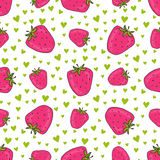 Seamless pattern with pink strawberries. Vector strawberry print with hearts. Background for textile and wrapping design Royalty Free Stock Images