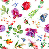 Seamless pattern with pink Sweet pea, Lathyrus odoratus, leaves. Stock Images