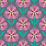 Seamless pattern with pink tulips Stock Images