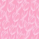 Seamless pattern with pink tulips. Vector Royalty Free Stock Images