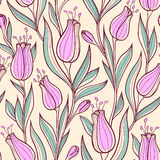 Seamless pattern with pink tulips Stock Photography