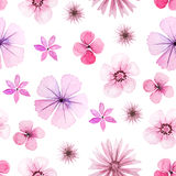 Seamless pattern with pink watercolor flowers Stock Photo