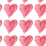 Seamless pattern of pink watercolor hearts on a white background Stock Image