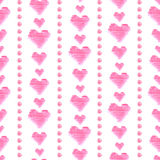 Seamless pattern with pink watercolor hearts on white background. Hand drawn elements. Seamless pattern with pink watercolor hearts on white background. Hand Royalty Free Stock Image