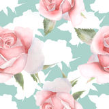 Seamless pattern with pink watercolor roses hand drawn. Stock Photo