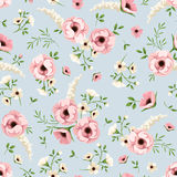 Seamless pattern with pink and white flowers on blue. Vector illustration. Stock Image