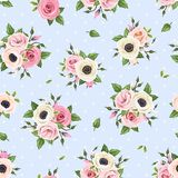Seamless pattern with pink and white flowers on blue. Vector illustration. Stock Images