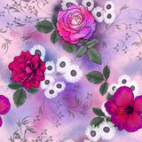 Seamless pattern with pink and white flowers in mixed media Stock Image