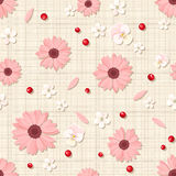 Seamless pattern with pink and white flowers on sacking. Vector eps-10. Royalty Free Stock Image