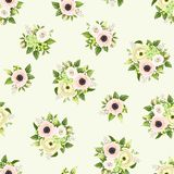 Seamless pattern with pink and white flowers. Vector illustration. Royalty Free Stock Photography