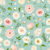 Seamless pattern with pink and white flowers. Vector illustration. Stock Images