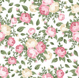 Seamless pattern with pink and white roses.