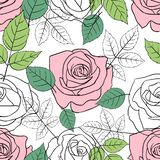 Seamless pattern with pink and white roses vector illustration