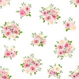 Seamless pattern with pink and white roses. Vector illustration. Royalty Free Stock Photos