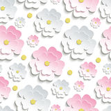 Seamless pattern with pink and white sakura. Beautiful modern nature background seamless pattern with pink and white stylized 3d flower sakura - japanese cherry Stock Images