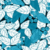 Seamless pattern pink wild berries branch leaves retro backgroun Royalty Free Stock Photography