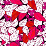 Seamless pattern pink wild berries branch leaves texture backgro Stock Images