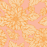 Seamless pattern with pink and yellow dahlia Royalty Free Stock Images