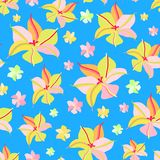 Seamless Pattern with Pink Yellow Flowers Stock Photos