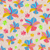 Seamless Pattern with Pink Yellow Flowers Royalty Free Stock Photo