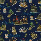 Seamless pattern with pirate adventures concept, old sailboats, anchor, lettering and treasure island on blue. Pirate adventures, treasure hunt and old Royalty Free Stock Images