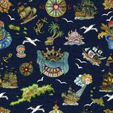 Seamless pattern with pirate adventures concept, treasure islands, old sailing ships, nautical symbols on blue. Pirate adventures, treasure hunt and old Stock Images