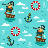 Seamless pattern with pirate on boat. Funny cartoon seamless pattern with a pirate on a boat with a spyglass, anchor, lifebuoy and clouds Royalty Free Stock Photography