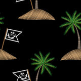 Seamless pattern with pirate flag with palm tree embroidery stit Stock Photos