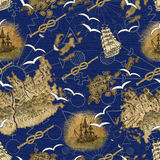 Seamless pattern with pirate map details and ship Stock Image