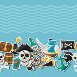 Seamless pattern on pirate theme with stickers and Stock Image