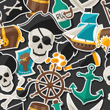 Seamless pattern on pirate theme with stickers and Royalty Free Stock Photography