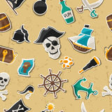 Seamless pattern on pirate theme with stickers and Stock Images