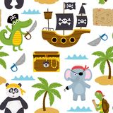 Seamless pattern with pirates animals and other elements on white background Royalty Free Stock Photos