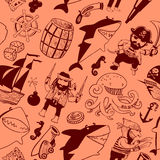 Seamless pattern with pirates and sharks stock illustration