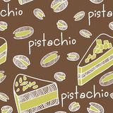 Seamless pistachio cake pattern Royalty Free Stock Image