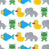 Seamless pattern with pixel animals. For textiles, interior design, for book design, website background Stock Photos