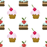 Seamless pattern, pixel cakes with fruits on white background. For design Stock Illustration