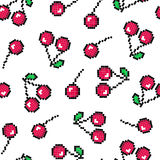 Seamless pattern with pixel cherry. Vector illustration. Simple seamless background. Stock Photo