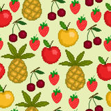Seamless pattern with pixel fruit. For textiles, interior design, for book design, website background Stock Image