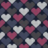 Seamless pattern with pixel hearts Royalty Free Stock Photography