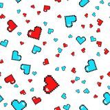 Seamless pattern with pixel hearts. Valentines day. Vector background. Seamless pattern with pixel hearts. Valentines day. Vector background isolated on white Stock Photo