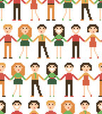 Seamless pattern with pixel people. Stock Photography