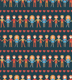 Seamless pattern with pixel people. Royalty Free Stock Image