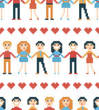 Seamless pattern with pixel people. Stock Photo