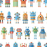 Seamless pattern with pixel robots. Stock Images
