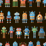 Seamless pattern with pixel robots. Royalty Free Stock Photo